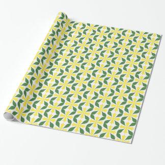 Papel De Presente Flor amarela do vintage com folhas verdes