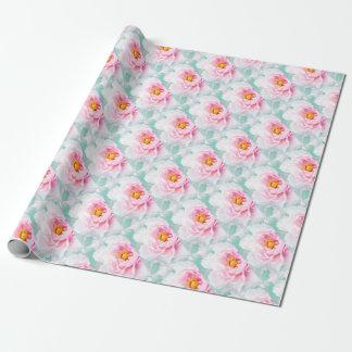 Papel De Presente Flor cor-de-rosa chave alta da peônia
