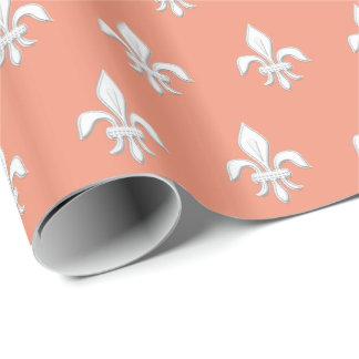 Papel De Presente Flor de lis no branco no rosa coral claro/pêssego