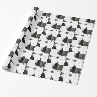 Papel De Presente Flor preto e branco do Dogwood