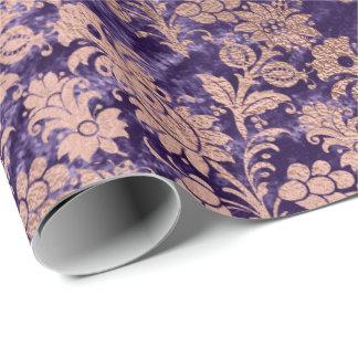 Papel De Presente Floral violeta de veludo roxo do pó do ouro do