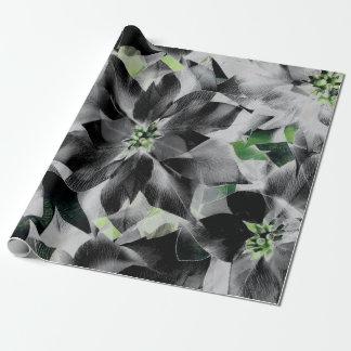 Papel De Presente Flores brancas pretas VIP mínimo cinzento verde