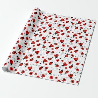 Papel De Presente Flores brancas vermelhas da senhora Desinsetar