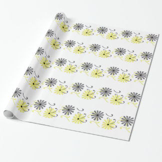 Papel De Presente Flores brilhantes, amarelas e cinzentas,