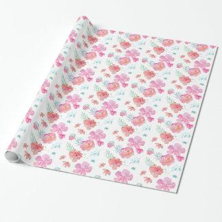 Papel De Presente Flores cor-de-rosa românticas da aguarela
