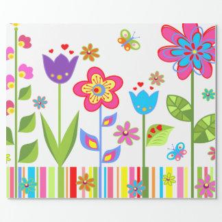 Papel De Presente Flores de papel de envolvimento para ela