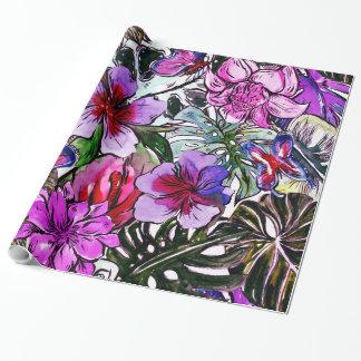 Papel De Presente Flores exóticas da selva do hibiscus tropical