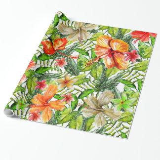 Papel De Presente Flores exóticas tropicais da flor do hibiscus da