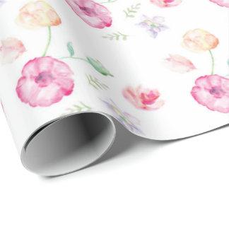 Papel De Presente Flores florais do Watercolour
