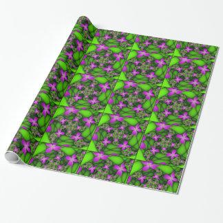 Papel De Presente Flores verdes cor-de-rosa de néon abstratas