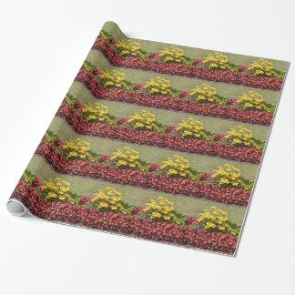 Papel De Presente Flowerbed dos coneflowers e das begónias