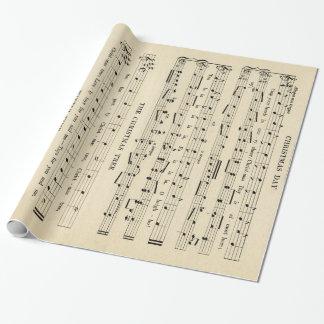 Papel De Presente Folha de música incomum impressionante do natal