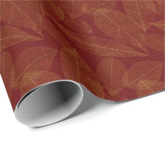 Papel De Presente Folha dourada Borgonha marrom carmesim botânica