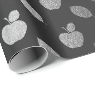 Papel De Presente Folha metálica das frutas de Apple do preto das