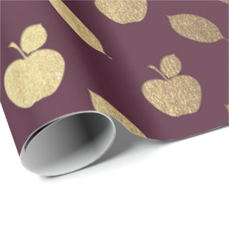 Papel De Presente Folha metálica das frutas de Apple do vinho tinto