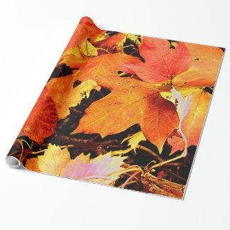 Papel De Presente Folhas de outono alaranjadas corajosas