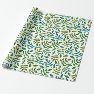 Papel De Presente Folhas do verde. Aguarela floral. Verão botânico