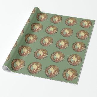 Papel De Presente Folhas dos azulejos de mosaico da senhora Verde do