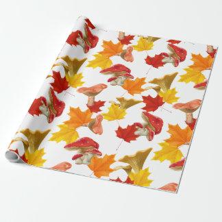 Papel De Presente Folhas e cogumelos coloridos de outono