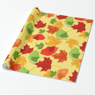 Papel De Presente Folhas e guarda-chuvas de outono