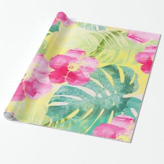 Papel De Presente Folhas tropicais da banana das flores cor-de-rosa