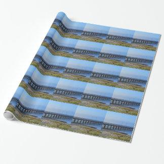 Papel De Presente Foto do cais no por do sol com âncora