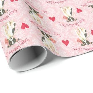 Papel De Presente Fox cor-de-rosa Terrier do brinquedo dos namorados