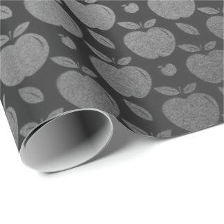 Papel De Presente Frutas metálicas de prata mais foxier pretas