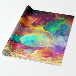 Papel De Presente Galáxia líquida colorida do espaço do papel de