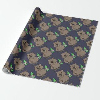 Papel De Presente Garrafa engraçada do bebendo de Wombat de desenhos