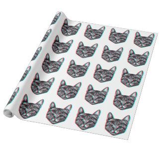 Papel De Presente Gato 3d, 3d gato, gato preto e branco