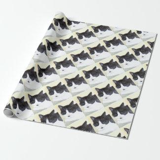 Papel De Presente Gato preto e branco
