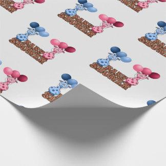 Papel De Presente Gêmeos azuis e safari cor-de-rosa do chá de