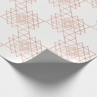 Papel De Presente Geometria cor-de-rosa metálica branca do hexágono