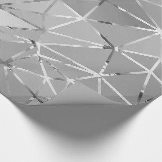 Papel De Presente Geometria de prata cinzenta do hexágono do corte