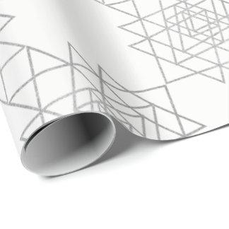 Papel De Presente Geometria metálica branca do hexágono das cinzas