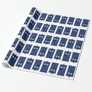 Papel De Presente Giftwrap azul do geek da caixa de POLÍCIA