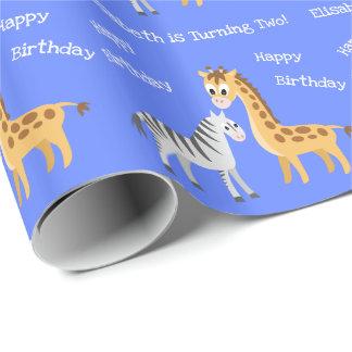 Papel De Presente Girafa bonito e de criança ou de bebê da zebra