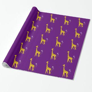 Papel De Presente Girafa engraçado roxo da patinagem de rolo