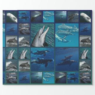 Papel De Presente Golfinhos e colagem das baleias