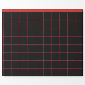 Papel De Presente Grade preta e vermelha