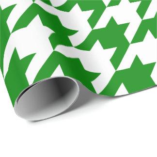 Papel De Presente Grande Houndstooth verde e branco