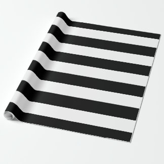 Papel De Presente Grande | listrado preto & branco customizável