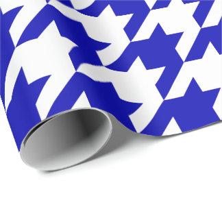 Papel De Presente Grandes azuis marinhos e branco Houndstooth