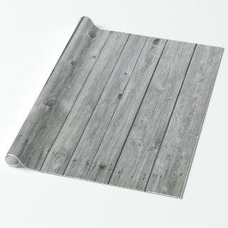 Papel De Presente Grão de madeira cinzenta rústica