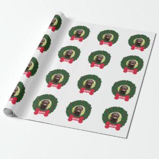 Papel De Presente Grinalda do cão do Natal com costume do nome da