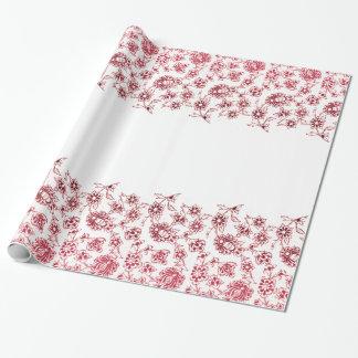 Papel De Presente Grupos de flores cor-de-rosa