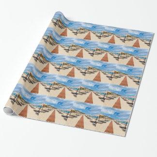 Papel De Presente Guarda-chuvas de praia e loungers no mar grego