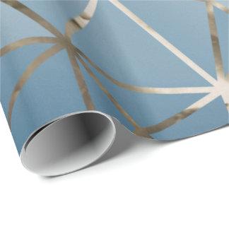 Papel De Presente Hexágono azul Geometr do diamante de prata
