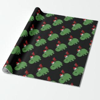 Papel De Presente Hipopótamo verde engraçado do Natal